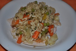 Risotto all'ortolana con sorpresa al pollo!
